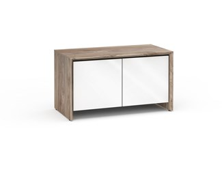 Barcelona 221, Twin-Width AV Cabinet, Natural Walnut with White Gloss Doors