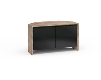Barcelona 221, Twin-Width Corner Cabinet, Natural Walnut with Black Glass Doors