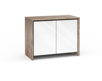 Barcelona 323, Twin-Width Pro Audio Cabinet (30U Rack Mount Rails), Natural Walnut /Gloss White