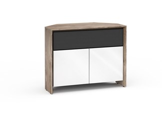 Barcelona 329, Twin-Width Corner Cabinet, Natural Walnut with White Gloss Doors