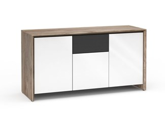 Barcelona 336, Triple-Width AV Cabinet, Natural Walnut with White Gloss Doors