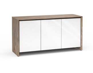 Barcelona 337, Triple-Width AV Cabinet, Natural Walnut with White Gloss Doors