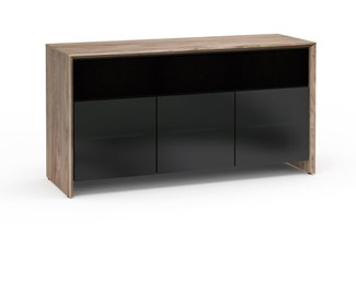 Barcelona 339, Triple-Width AV Cabinet, Natural Walnut with Black Glass Doors