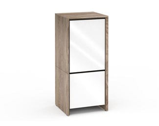 Barcelona 517, Single-Width Audio Cabinet, Natural Walnut with White Gloss Doors