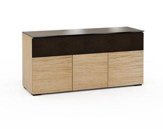 Denver 339, Triple-Width AV Cabinet, Textured Natural Oak