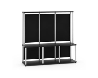 Synergy 40 Triple-Width Hutch Module, Black with Aluminum Posts