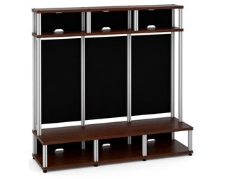 Synergy 10 Triple-Width Hutch Extension Module, Walnut with Aluminum Posts