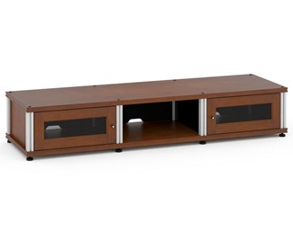 Synergy Solution 132, Quad-Width AV Cabinet, Cherry with Aluminum Posts