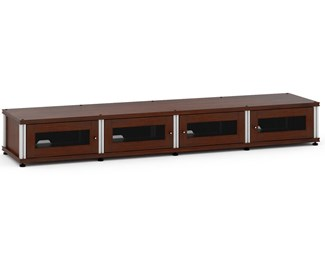 Synergy Solution 147, Quad-Width AV Cabinet, Walnut with Aluminum Posts