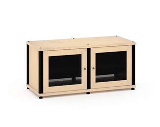 Synergy Solution 221, Quad-Width AV Cabinet, Maple with Black Posts