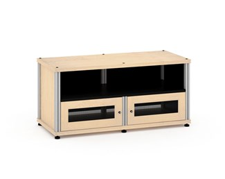 Synergy Solution 229, Quad-Width AV Cabinet, Maple with Aluminum Posts