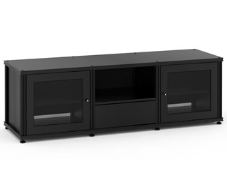 Synergy Solution 236, Quad-Width AV Cabinet, Black with Black Posts