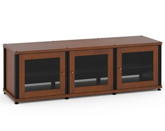 Synergy Solution 237, Quad-Width AV Cabinet, Cherry with Black Posts