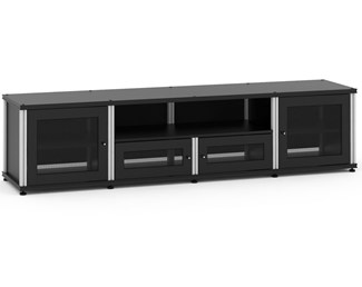 Synergy Solution 245, Quad-Width AV Cabinet, Black with Aluminum Posts