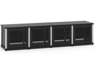 Synergy Solution 247, Quad-Width AV Cabinet, Black with Aluminum Posts
