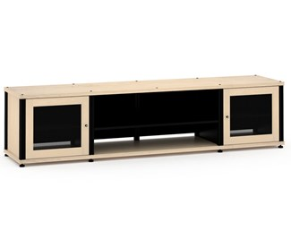 Synergy Solution 248, Quad-Width AV Cabinet, Maple with Black Posts
