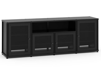 Synergy Solution 345, Quad-Width AV Cabinet, Black with Black Posts