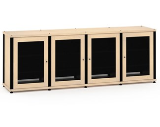 Synergy Solution 347, Quad-Width AV Cabinet, Maple with Black Posts
