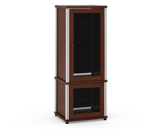 Synergy Solution 603, Quad-Width AV Cabinet, Walnut with Aluminum Posts
