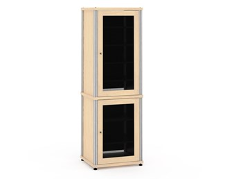 Synergy Solution 703, Quad-Width AV Cabinet, Maple with Aluminum Posts