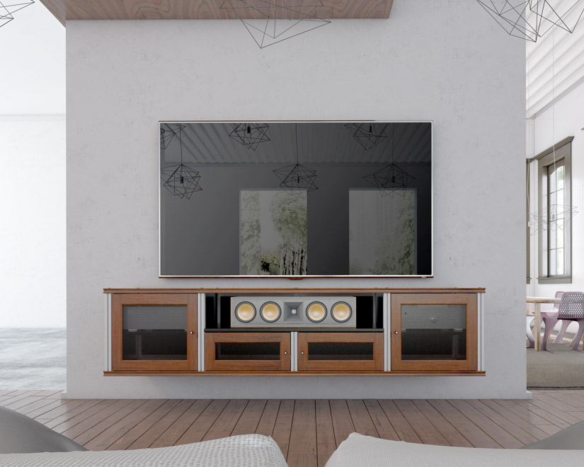 Wall Mounted Synergy Solution 245 AV Cabinet With Finished In Cherry With  Aluninum Posts