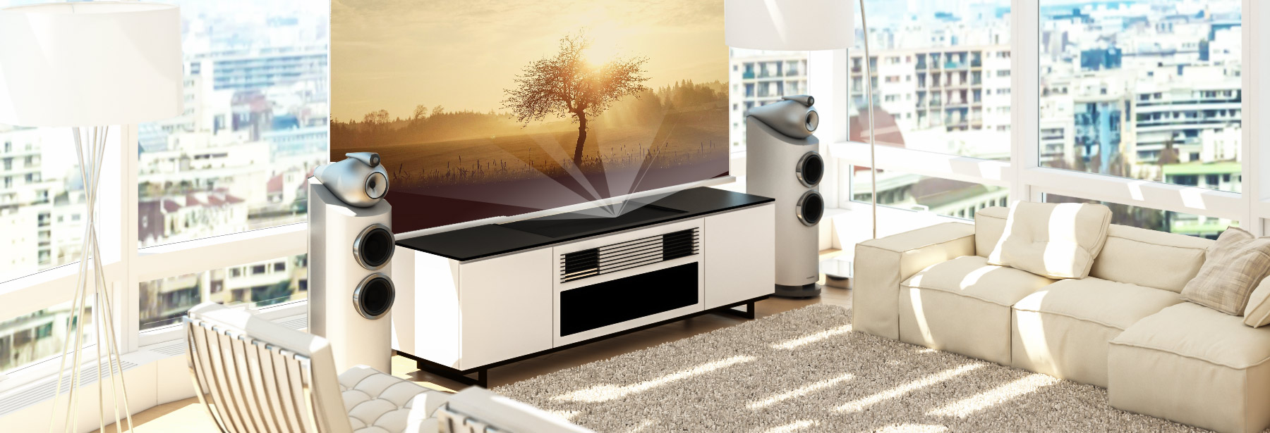 Great Sony Ultra Short Throw 4k HDR Projector Credenza