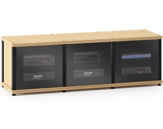 Synergy Solution 237, Quad-Width AV Cabinet, Natural Oak with Black Glass Doors