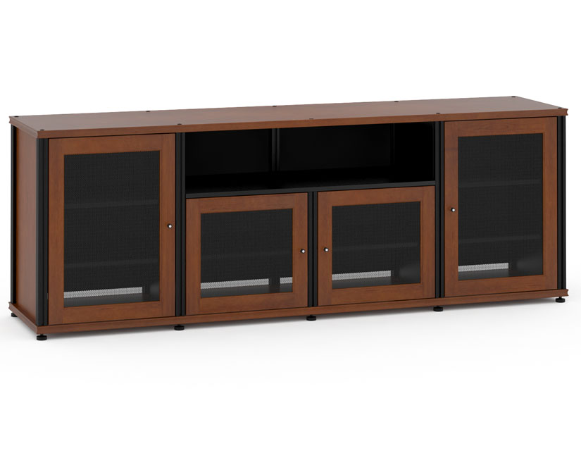 Synergy Solution 345, Quad Width AV Cabinet, Cherry With Black Posts