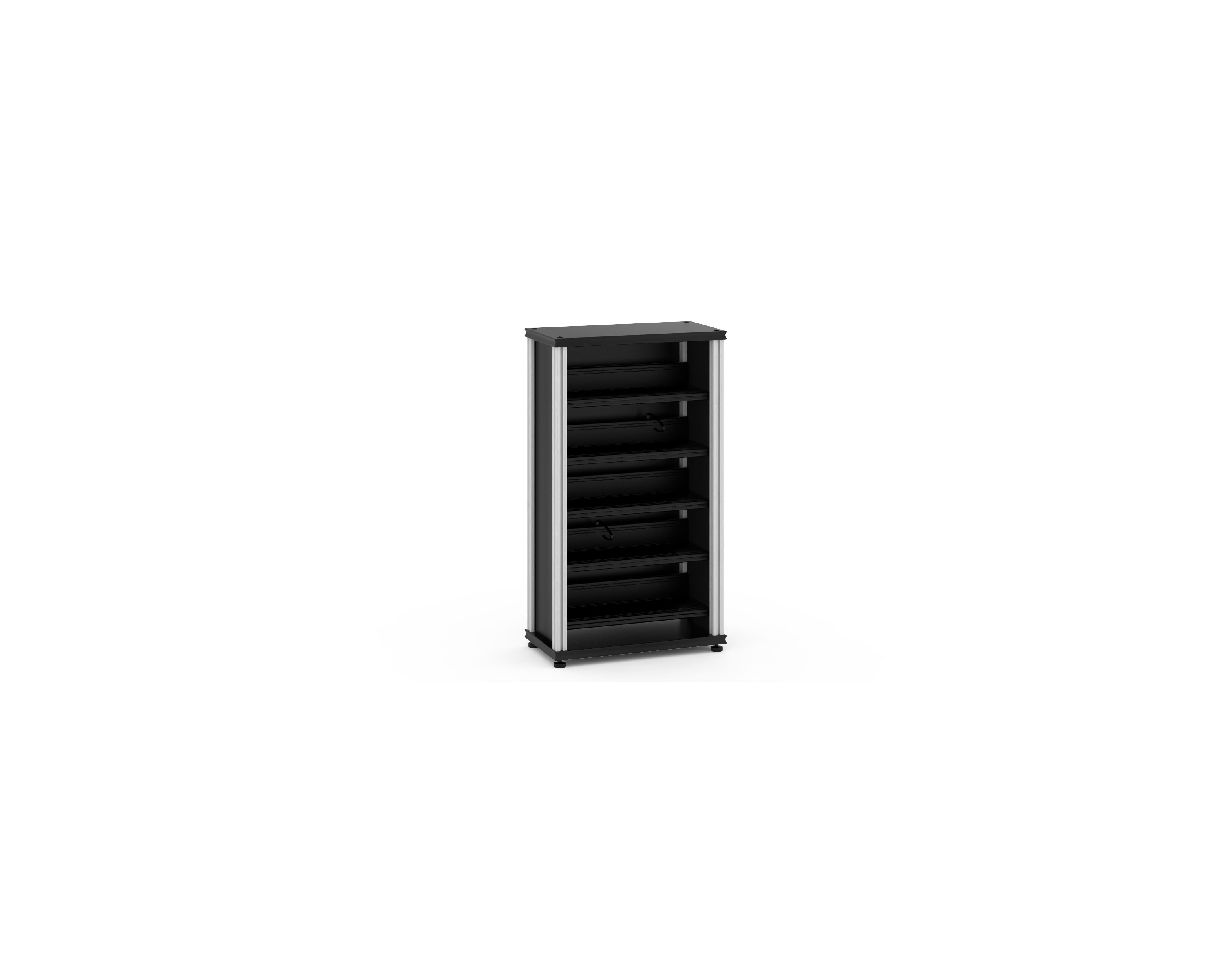 Beautiful Synergy Media Cabinet, Black With Aluminum Posts