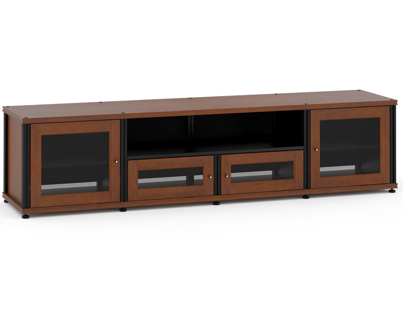Synergy Solution 245, Quad Width AV Cabinet, Cherry With Black Posts