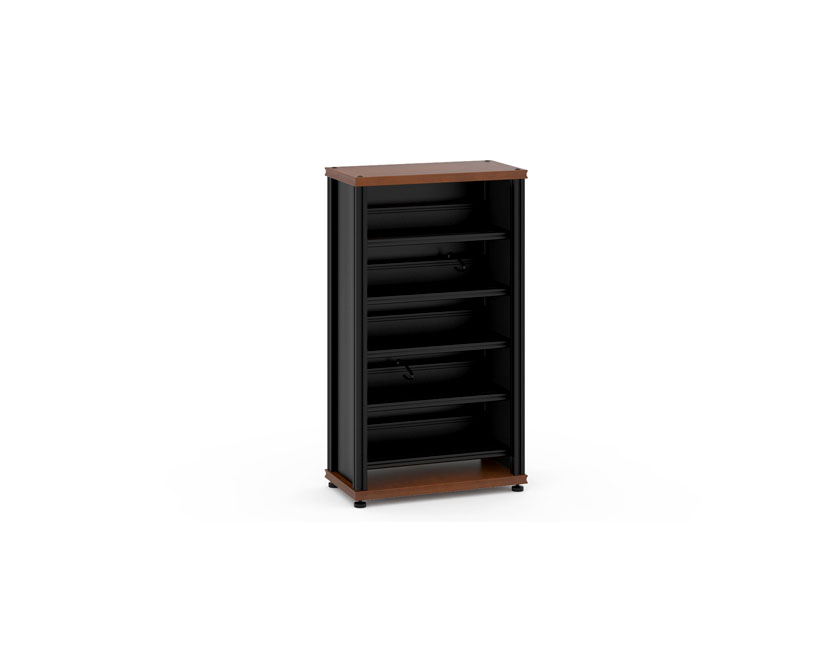 Amazing Synergy Media Cabinet Cherry With Black Posts