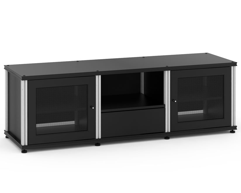 Synergy Solution 236, Quad Width AV Cabinet, Black With Aluminum Posts